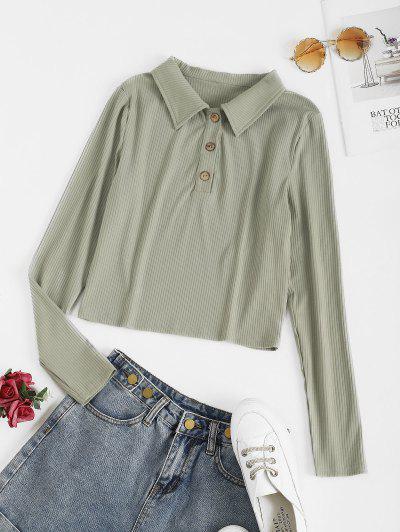 ZAFUL Ribbed Button Placket Crop Knitwear - Cyan Opaque Xl