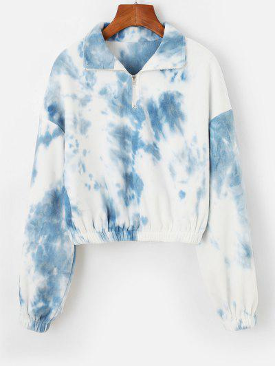 ZAFUL Tie Dye Elastic Waist Cropped Fleece Sweatshirt - Light Sky Blue M