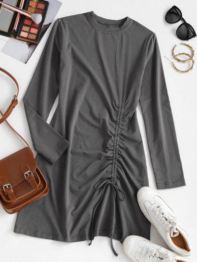 Cinched Long Sleeve T Shirt Dress - Gray Xl