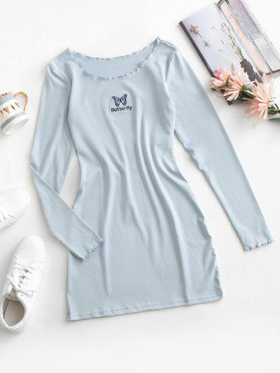 Lettuce Trim Butterfly Embroidered Bodycon Jersey Dress - Powder Blue M