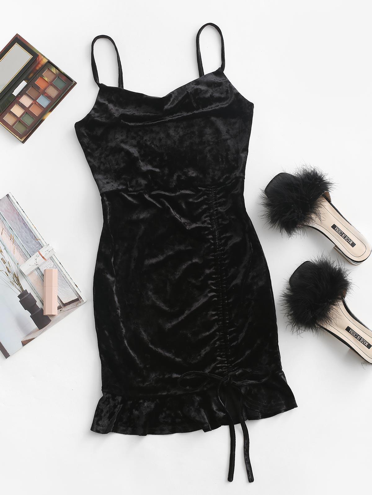 ZAFUL Cinched Velvet Mini Bodycon Dress