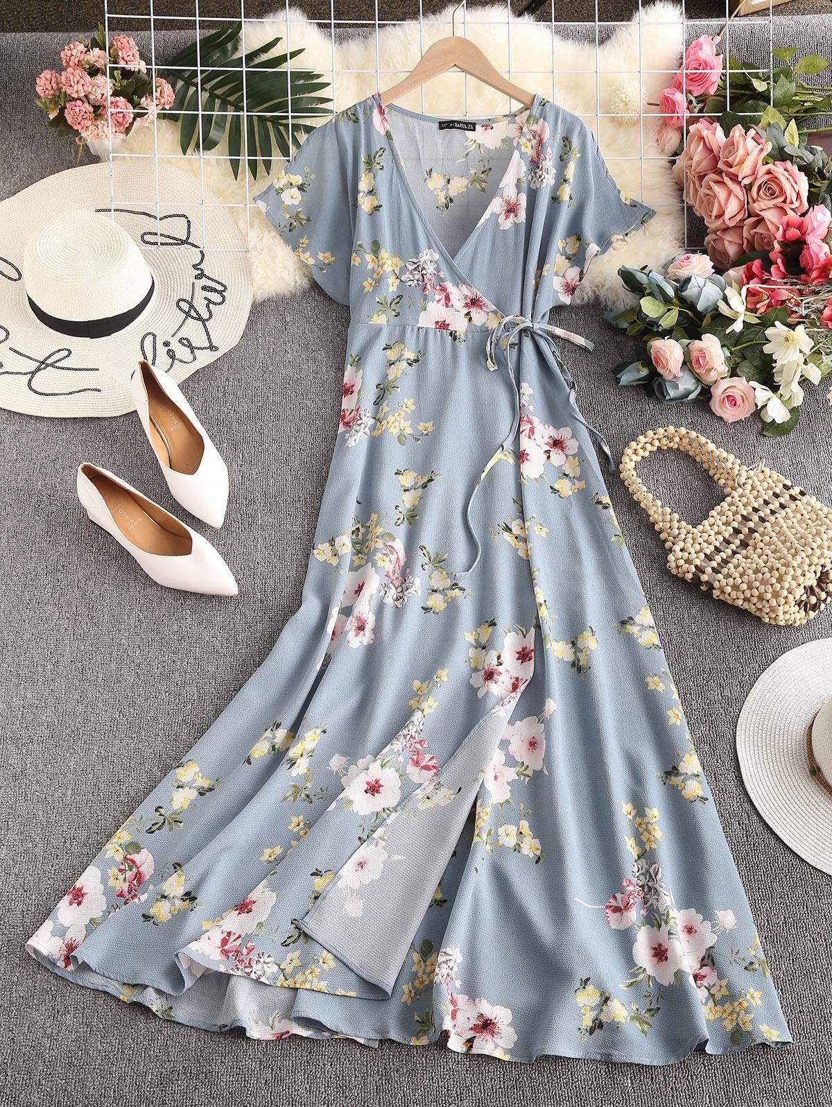 ZAFUL Floral Slit Sleeves Maxi Wrap Dress