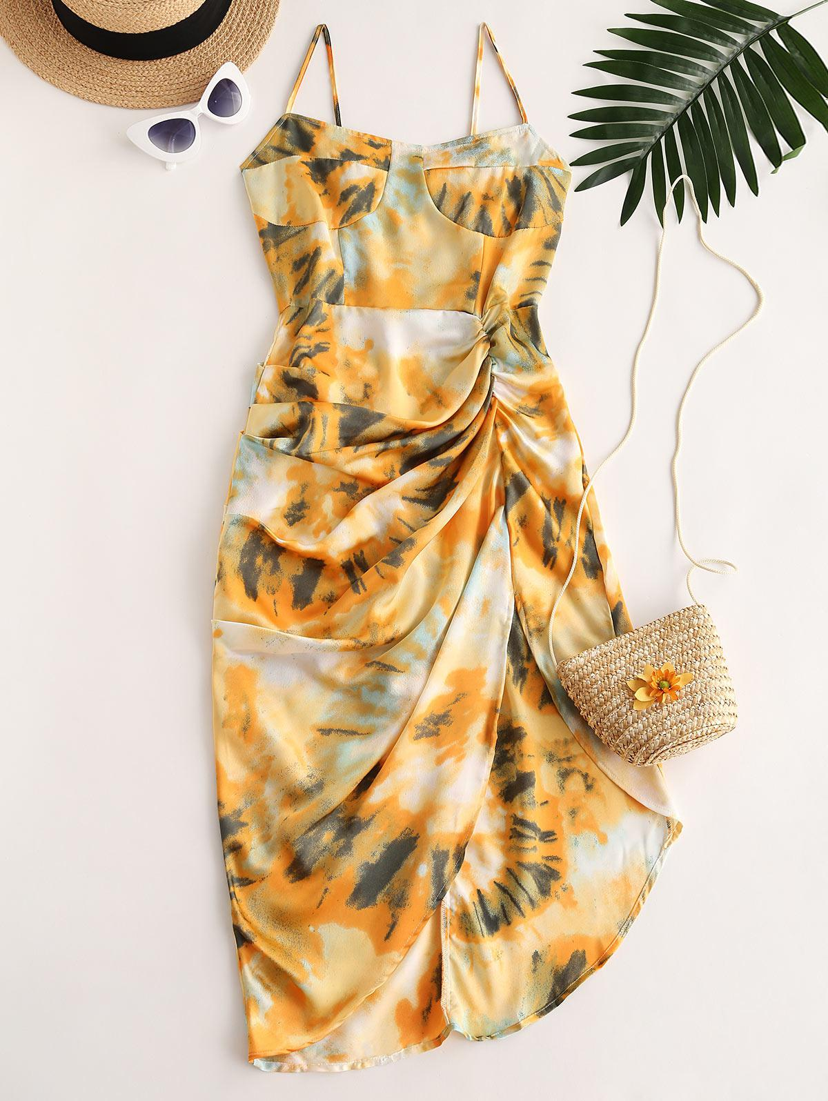 Printed Draped Cami Asymmetrical Dress
