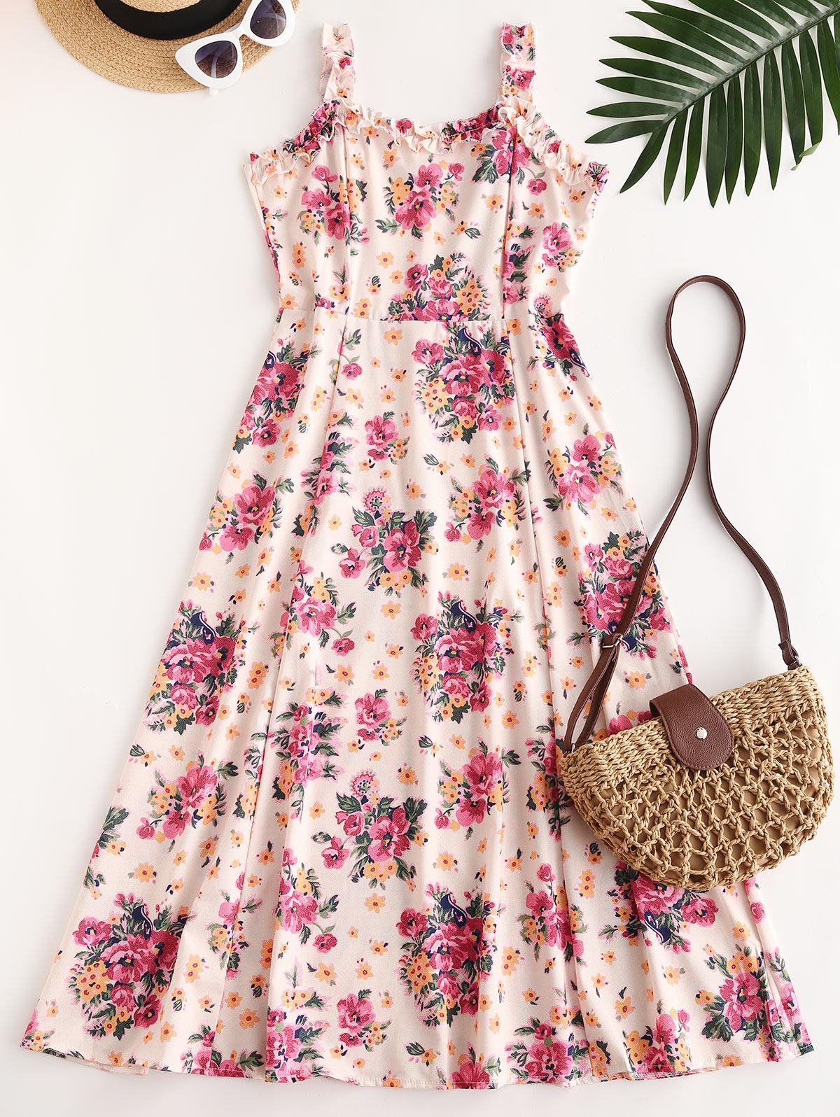 Floral Lettuce Trim Midi Dress