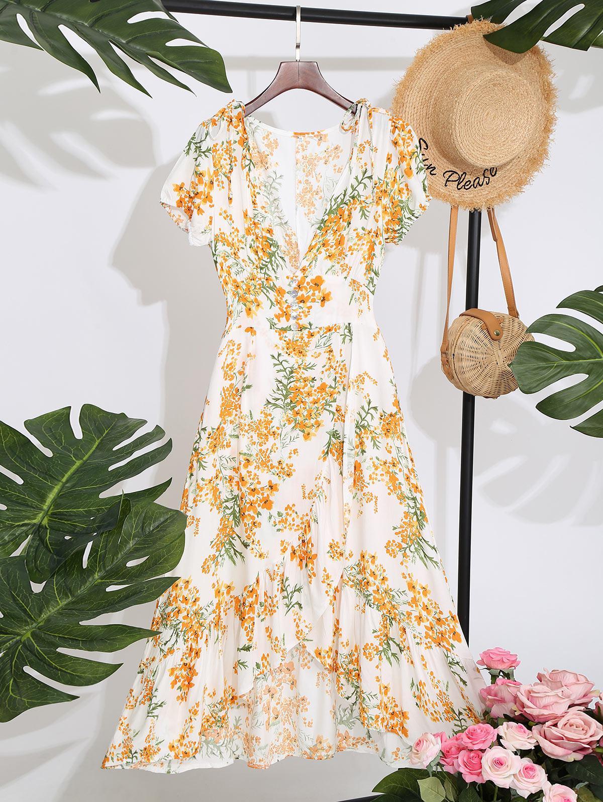 Floral Ruffles Overlap Midi Dress