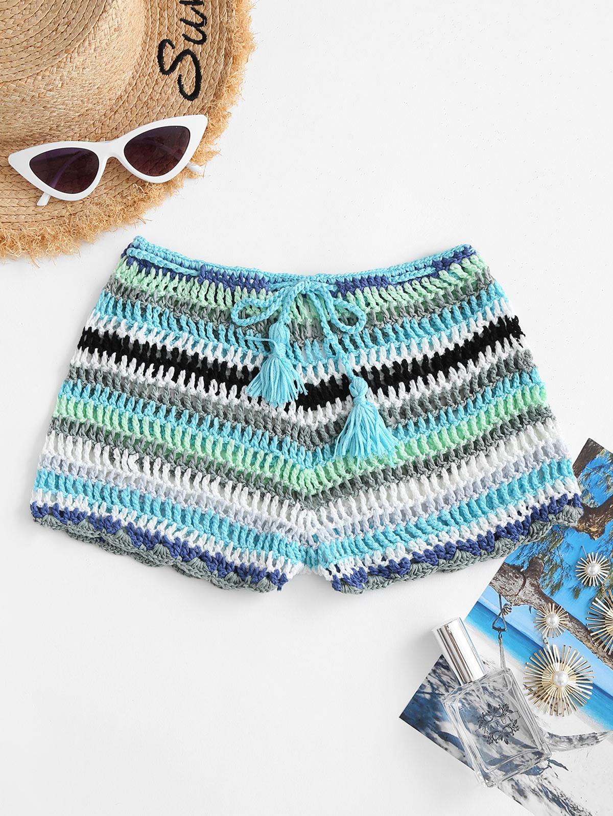 Striped Tassel Drawstring Crochet Beach Shorts