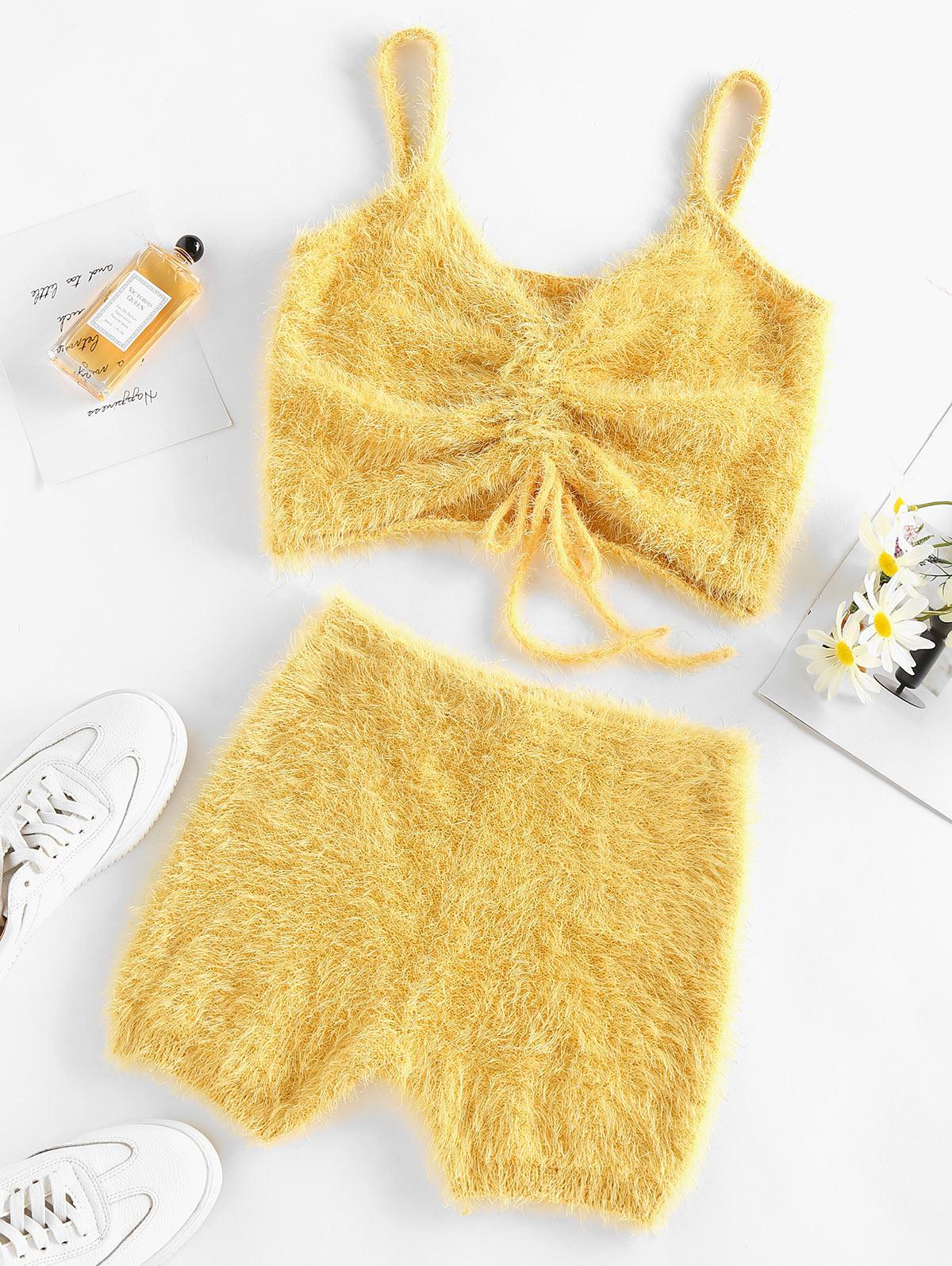ZAFUL Fuzzy Knitted Cinched Skinny Shorts Set