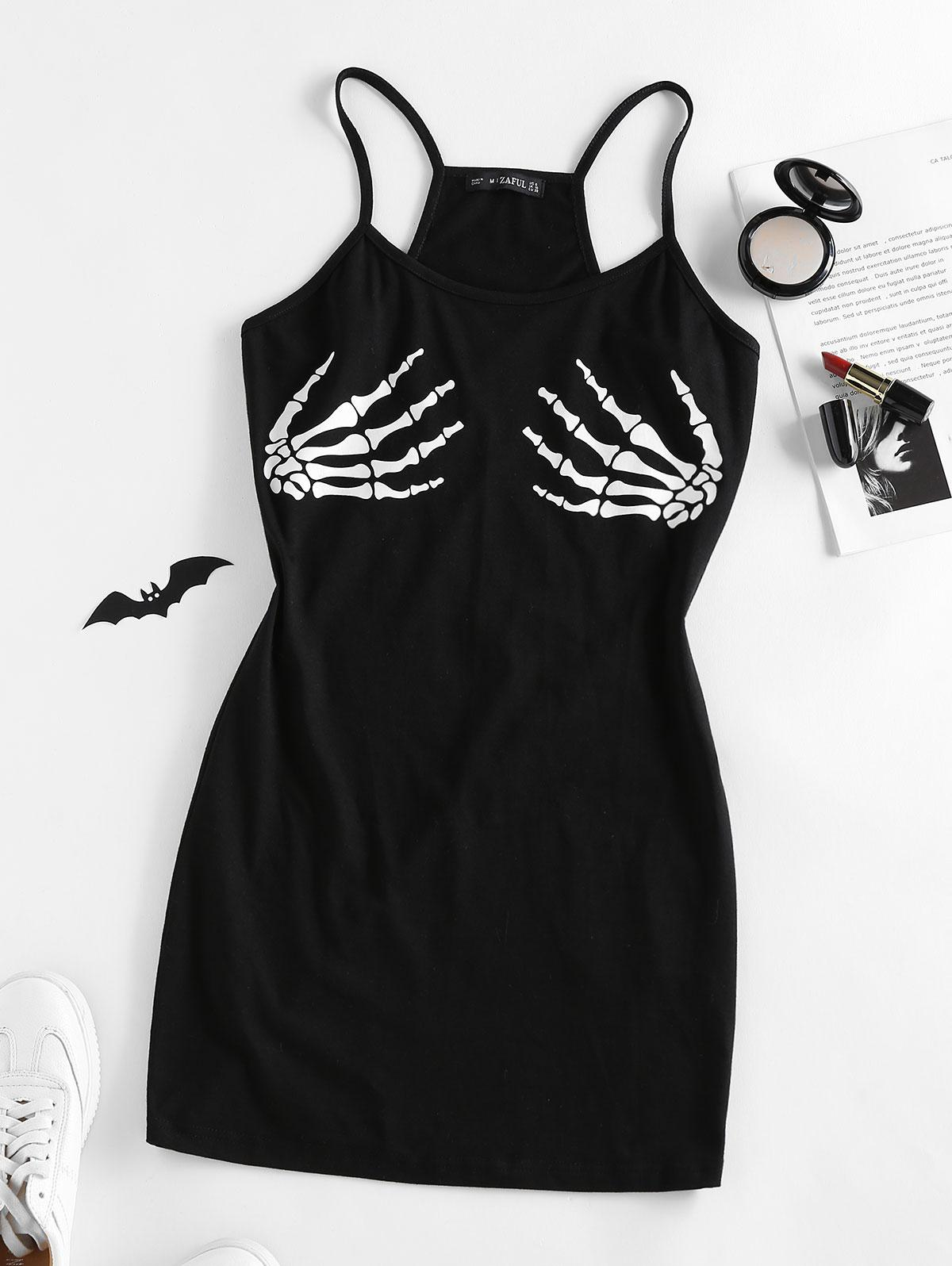 ZAFUL Halloween Skeleton Hand Bodycon Mini Dress