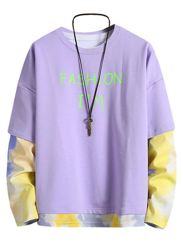 Zaful Letter Print Tie Dye Sweatshirt