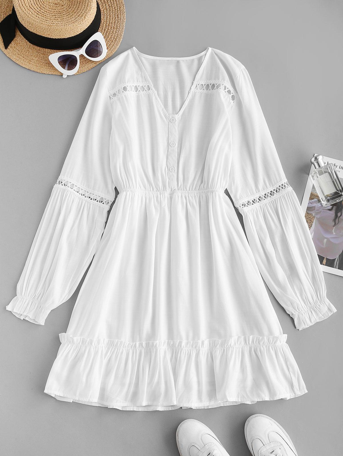 Button Front Crochet Trim Poet Sleeve Dress
