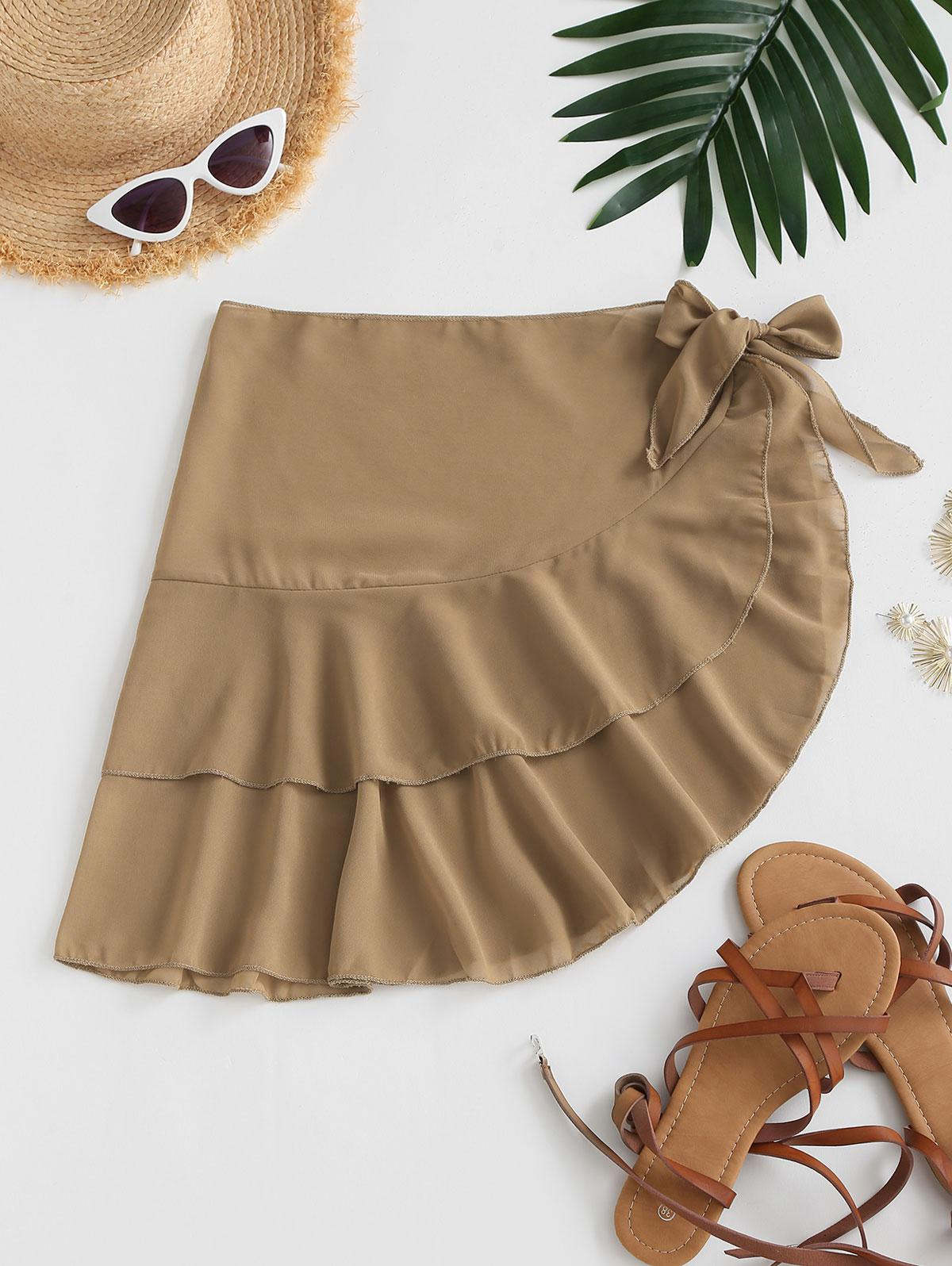 Tiered Flounce Chiffon Tie Cover Up Sarong
