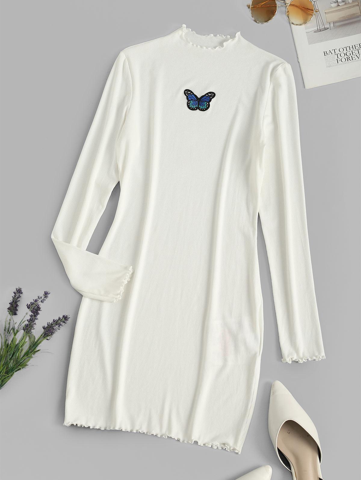 ZAFUL Ribbed Butterfly Applique Lettuce Trim Dress