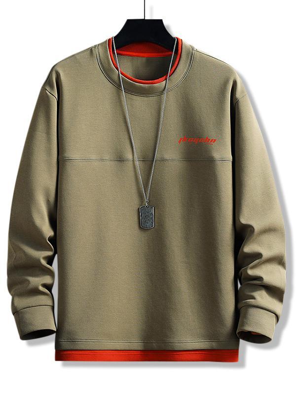 Zaful Contrast Double Hem Letter Print Sweatshirt