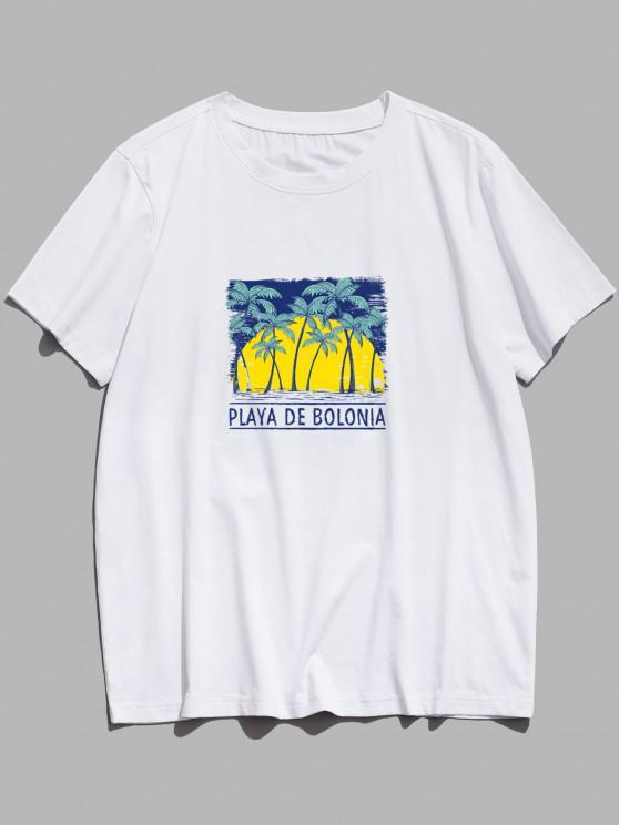 ZAFUL Palm Tree Letter Pattern Basic T Shirt - أبيض XS
