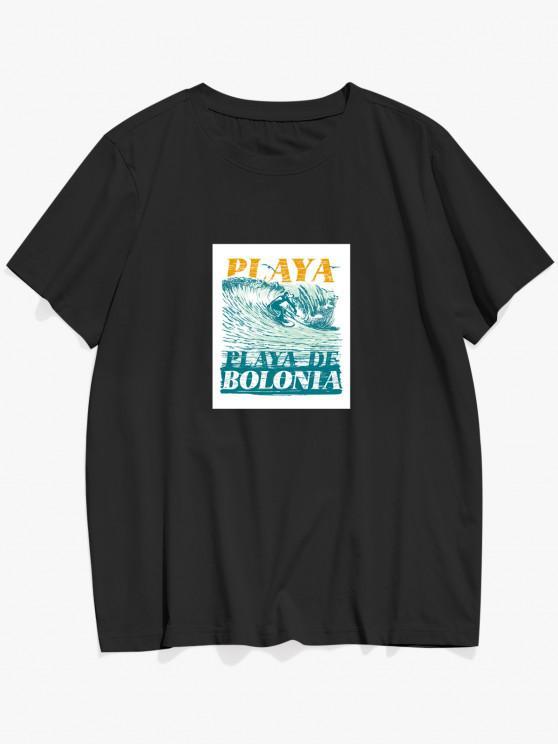 ZAFUL PLAYA DE BOLONIA Sea Waves Print Basic T-shirt - أسود L