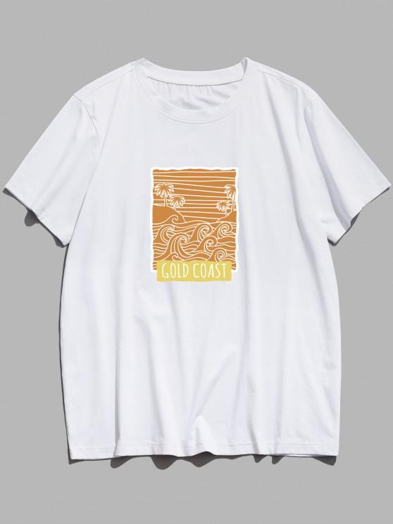 ZAFUL GOLD COAST Palm Tree Waves Print Basic T-shirt - أبيض XS