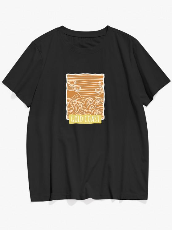 lady ZAFUL GOLD COAST Palm Tree Waves Print Basic T-shirt - BLACK L