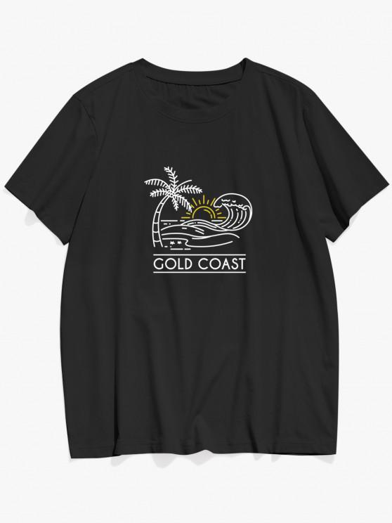 outfits ZAFUL GOLD COAST Palm Tree Sea Waves Print Basic T-shirt - BLACK S