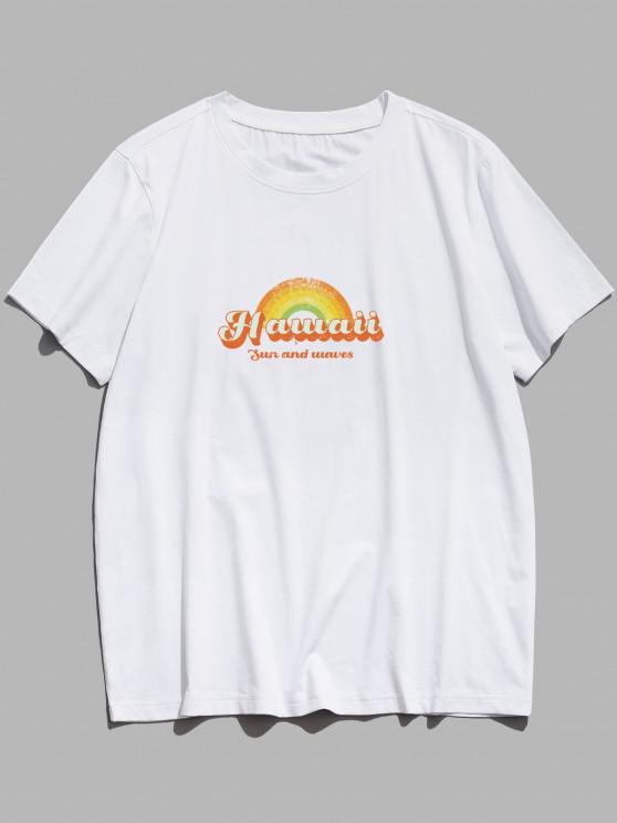 Sun And Waves Hawaii Rainbow Print Basic T-shirt - أبيض XS
