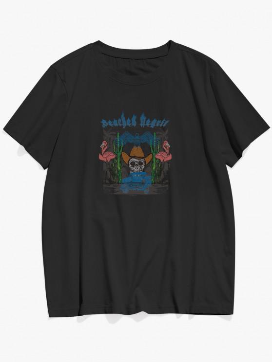womens ZAFUL Flamingo Cactus Animal Beaches Negril Graphic T-shirt - BLACK L
