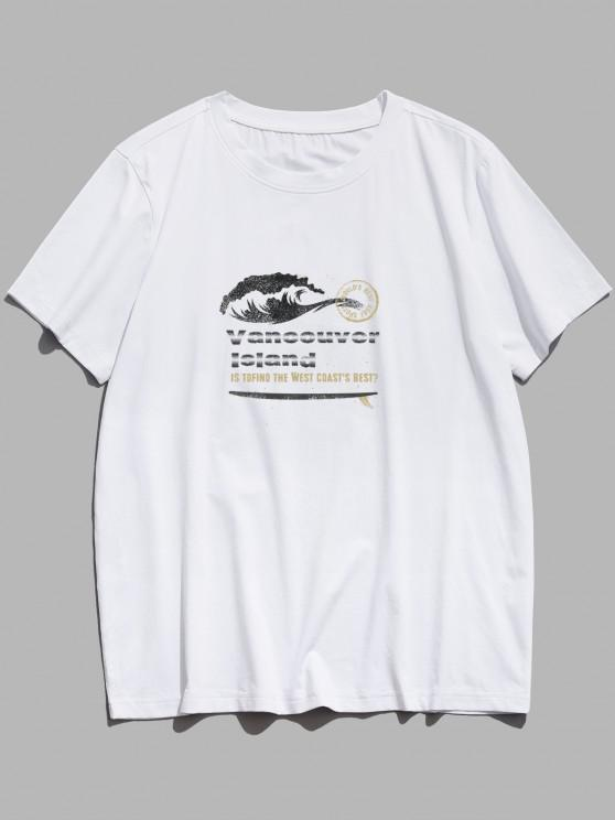 ZAFUL Vancouver Island Graphic Basic T Shirt - أبيض XS