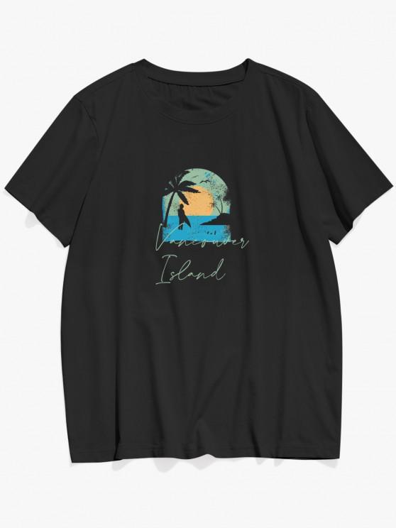 ZAFUL Vancouver Island Beach Palm Tree Graphic T Shirt - أسود L