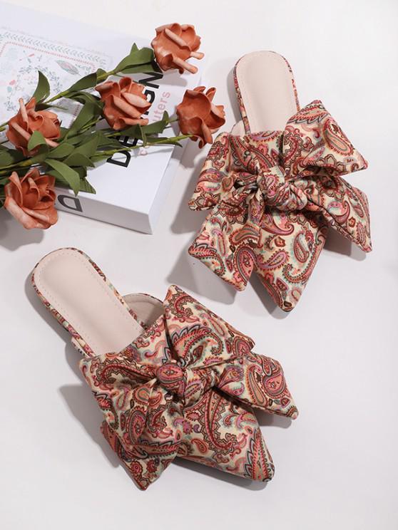 women Paisley Printed Bowknot Flat Shoes - MULTI-A EU 41