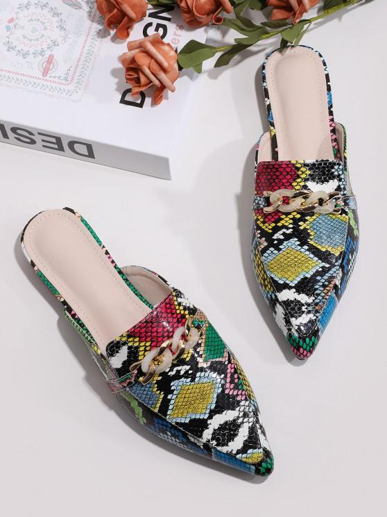 ladies Chain Embellished Snake Print Pointed Toe Half Flats - MULTI-A EU 38