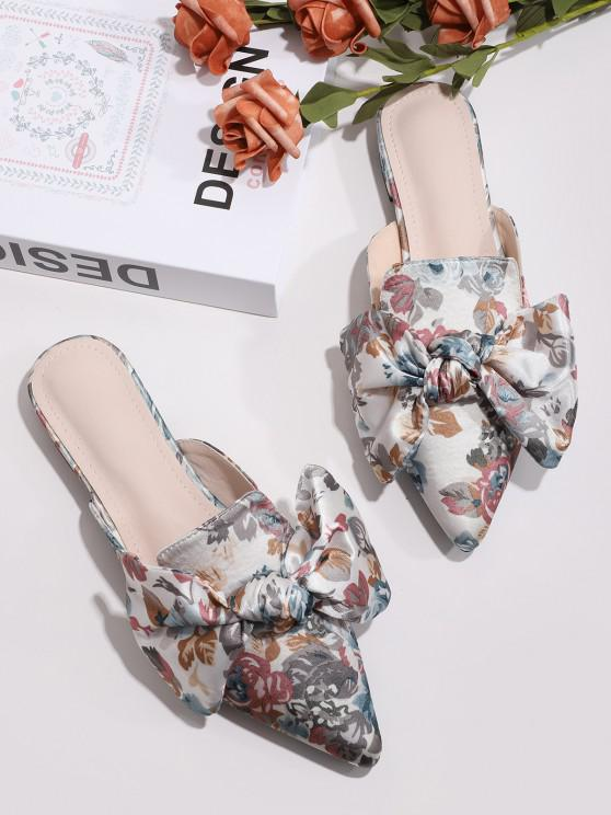 outfit Floral Print Bowknot Pointed Toe Half Flats - MULTI-A EU 39