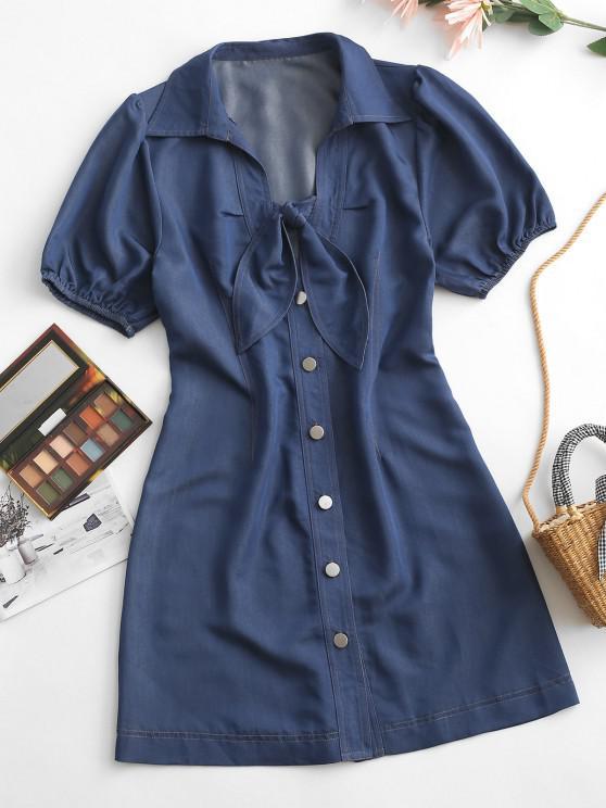 new ZAFUL Chambray Button Up Tied Mini Dress - DEEP BLUE L