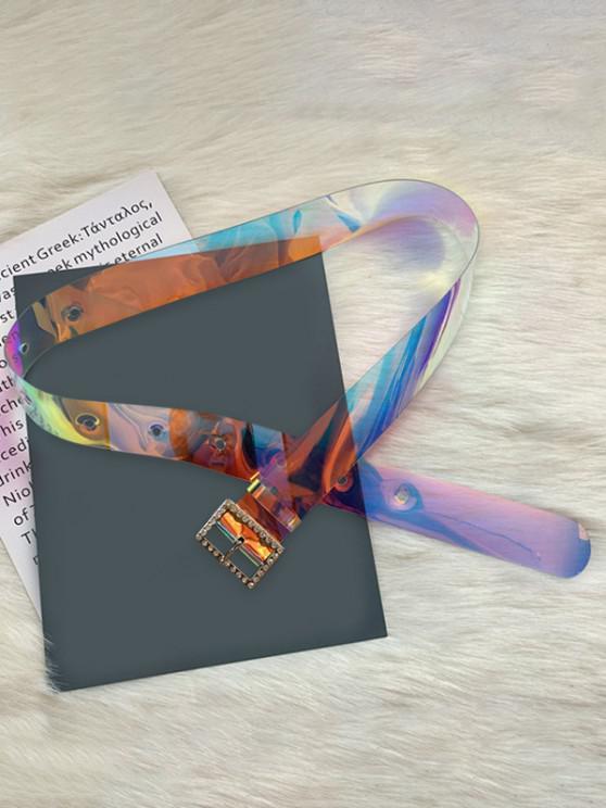 fancy Transparent PVC Rectangle Rhinestone Buckle Belt - MULTI-A
