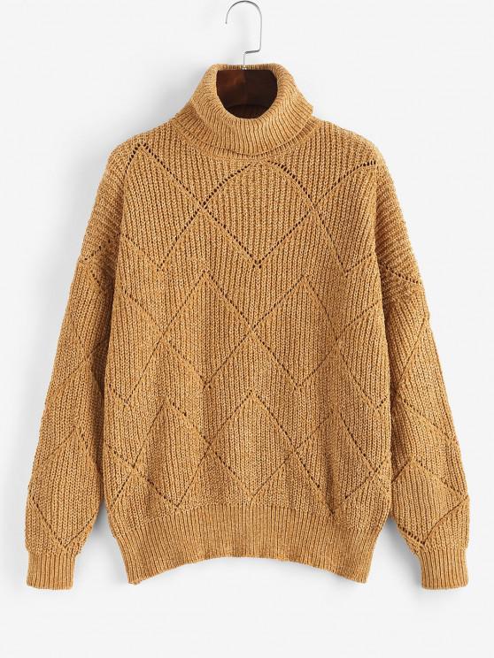 best Turtleneck Pointelle Knit Chenille Sweater - COFFEE ONE SIZE