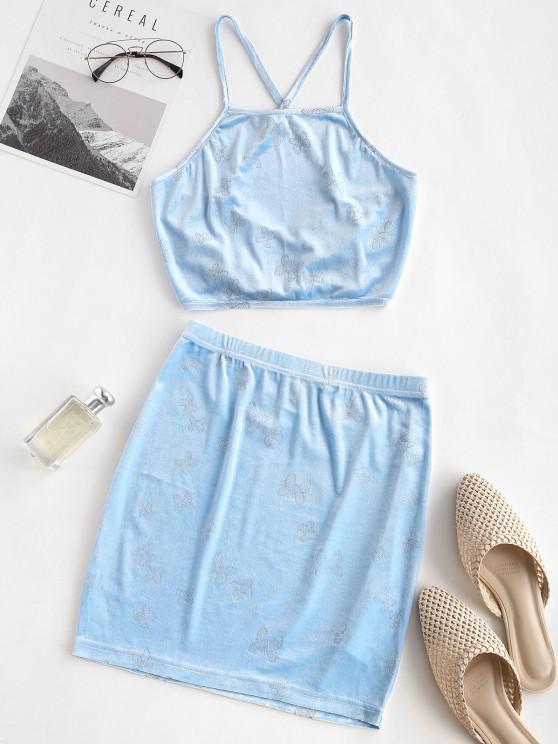 affordable ZAFUL Sparkly Butterfly Velvet Lace Up Bodycon Skirt Set - LIGHT BLUE XL