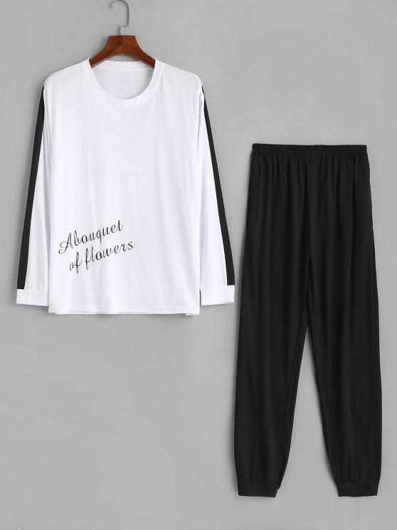 Color Blocking Letter Print Pajama Set - أبيض L