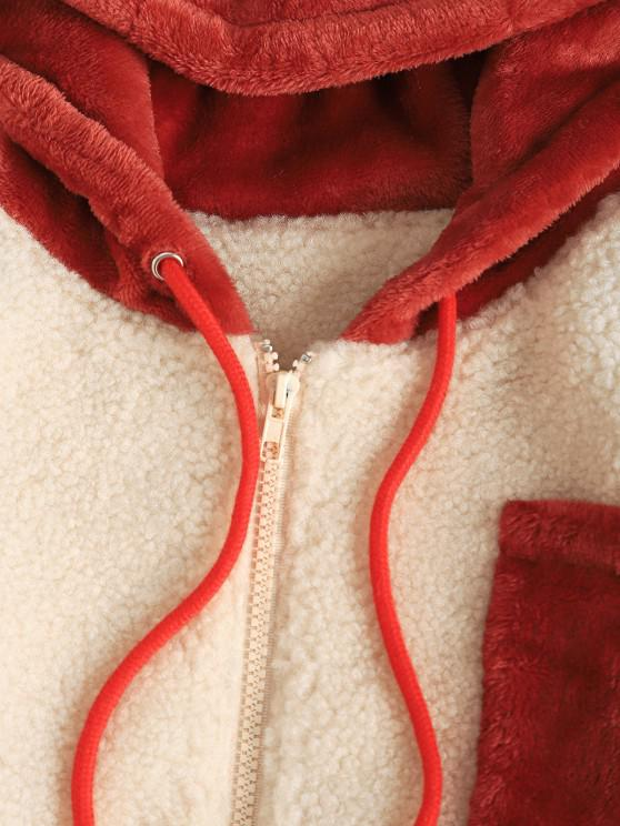 Faux Fur Patched Pocket Zip Hooded Teddy Coat - Light Coffee S   ZAFUL