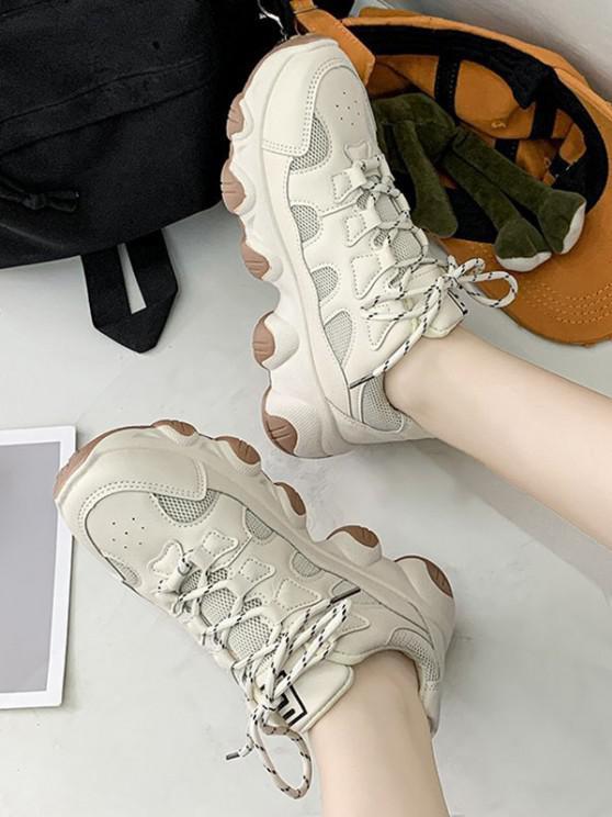 online Mesh Trim Lace Up Dad Sneakers - BEIGE EU 41