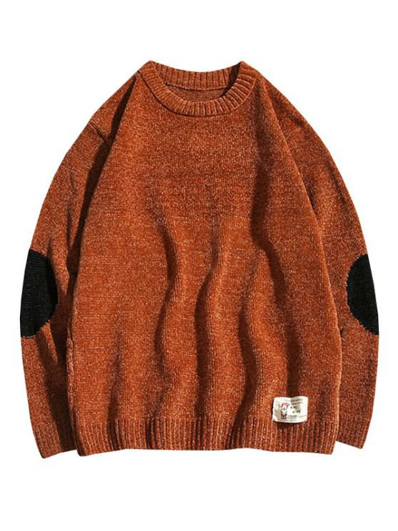 online Graphic Applique Contrast Sweater - COFFEE XS