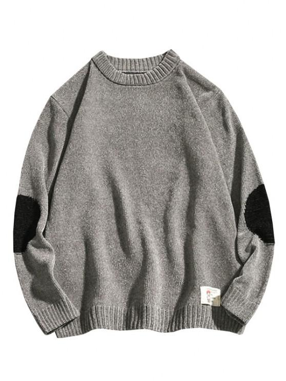 womens Graphic Applique Contrast Sweater - GRAY XS
