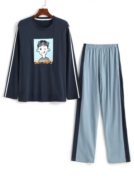women's Cartoon Character Letter Print Colorblock Pajama Set - DEEP BLUE L
