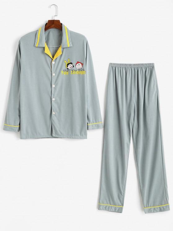 Cartoon Character Slogan Print Colorblock Pajamas - رمادي فاتح L