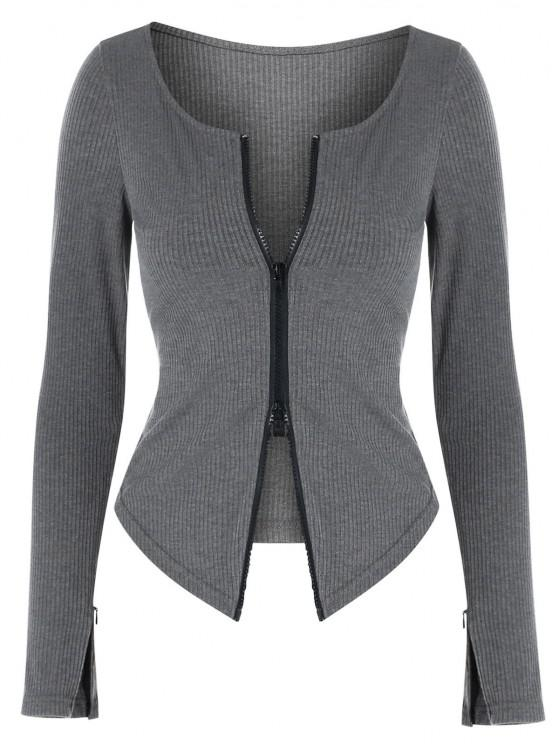 buy ZAFUL Two Way Zipper Asymmetric Ribbed Cardigan - DARK GRAY L