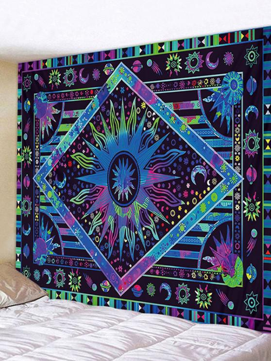 outfits Bohemia Sun And Moon Printing Wall Tapestry - DEEP BLUE W91 X L71 INCH