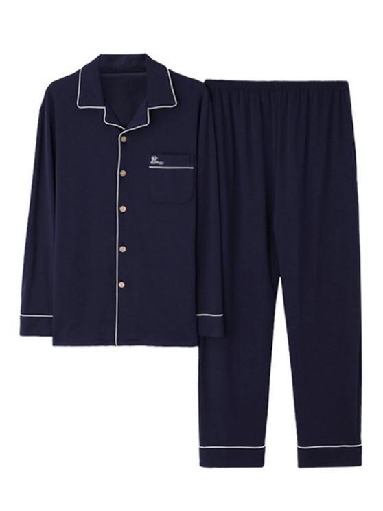 Contrast Stripe Embroidery Pocket Long Sleeve Pajama Set - طالبا الأزرق XS