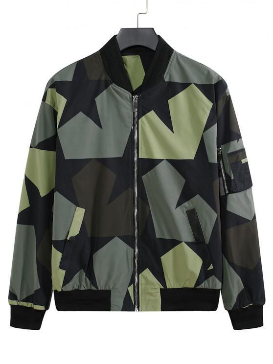 Veste de Baseball Camouflage Zippée Etoile Imprimée avec Multi-Poches - Noir 3XL