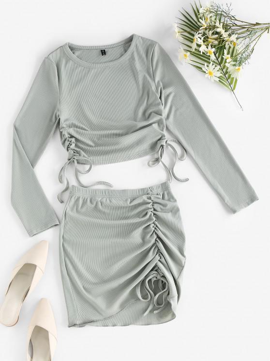 online ZAFUL Rib-knit Cinched Two Piece Dress - LIGHT GREEN L