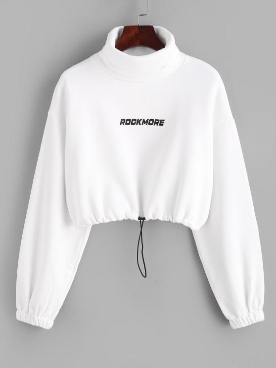 outfit Turtleneck ROCKMORE Graphic Cropped Sweatshirt - WHITE L
