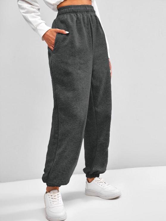 Pantalon Taille Haute à Doublure en Laine avec Poche à Pieds Etroits - Gris S