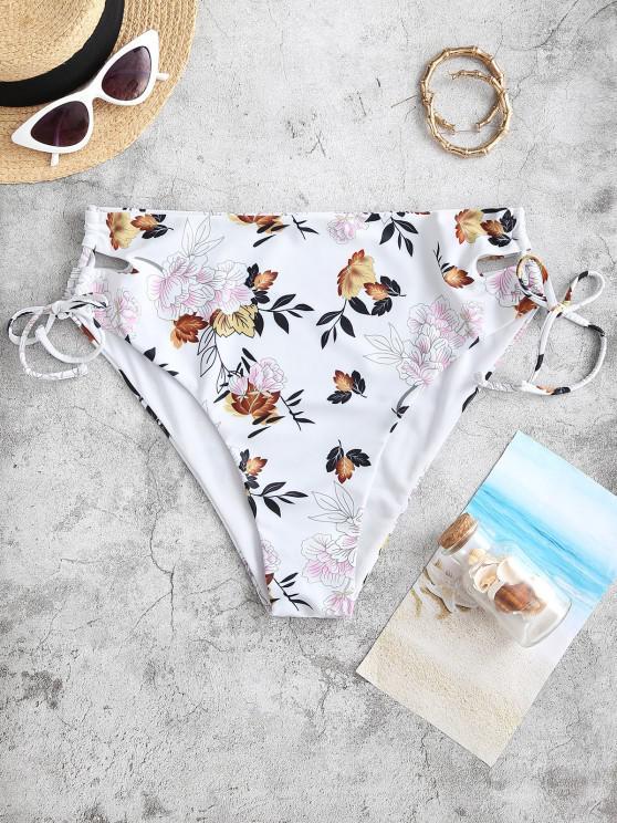 ZAFUL Bas de Bikini Fleuri à Lacets à Côté de Grande Taille - Jaune XL
