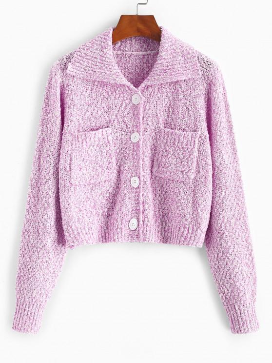 Pocket Single Breasted Boucle Knit Cardigan - وردي فاتح حجم واحد