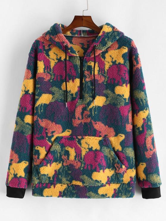 women's Camouflage Print Faux Fur Half Zipper Drawstring Hoodie - MULTI S